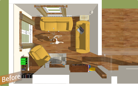 cluttered living room layout before design intervention