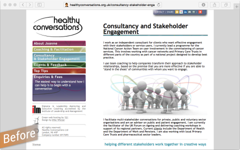 Healthy Conversations previous website 2010
