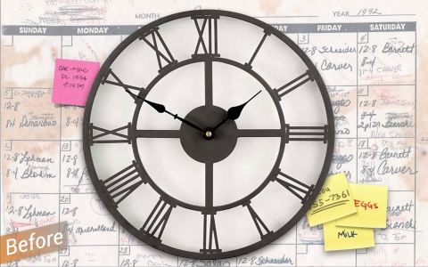 cluttered and confusing clock