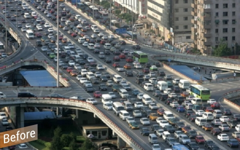 car-filled congested roads